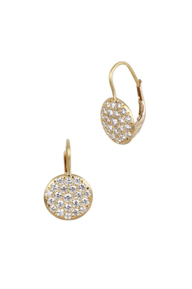 20K Yellow Gold Pavé Diamond Lentil Earrings