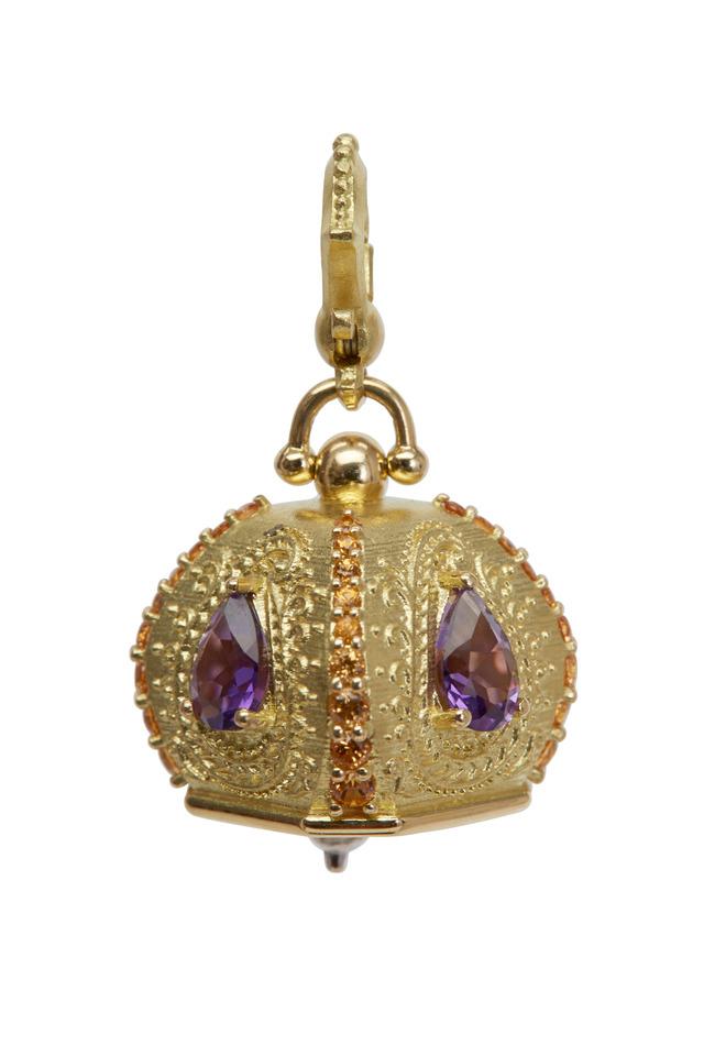 Meditation Bell Gold Amethyst Spessartite Pendant
