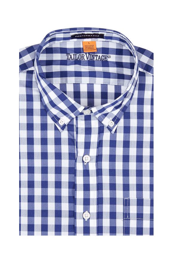 Tailor Vintage Blue Gingham Performance Sport Shirt