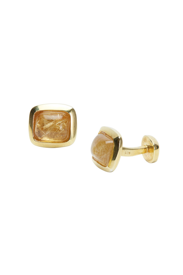 Yellow Gold Cushion-Cut Cuff Links