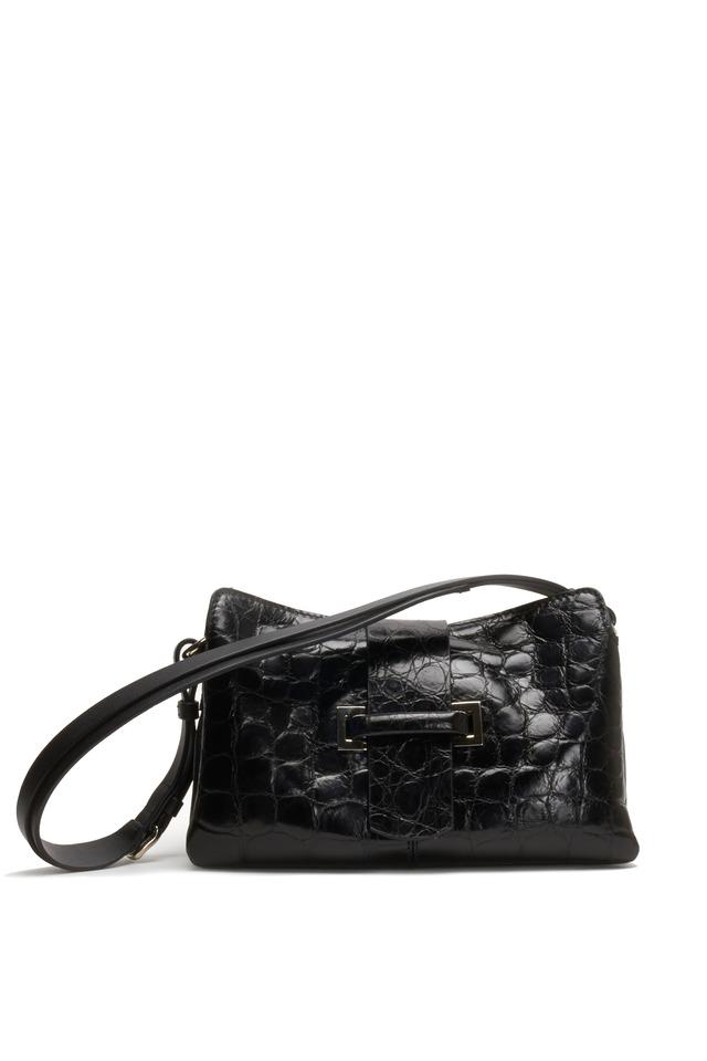 Black Crocodile Small Shoulder Bag