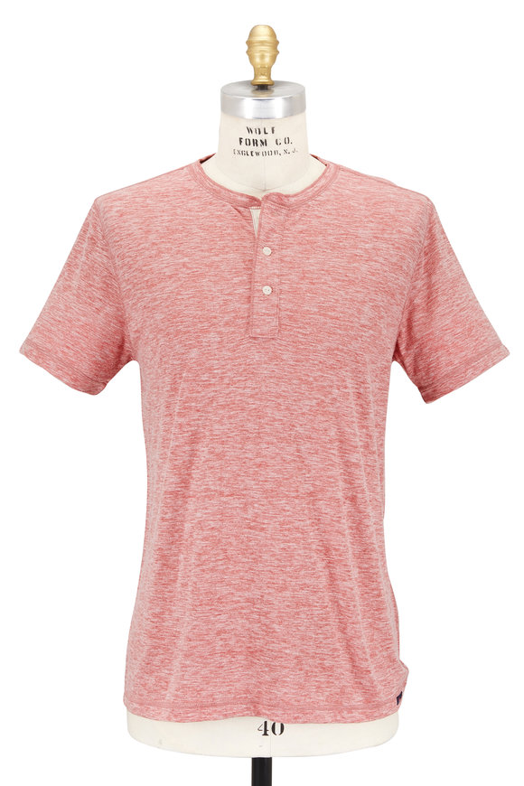 Faherty Brand Faded Red Short Sleeve Henley