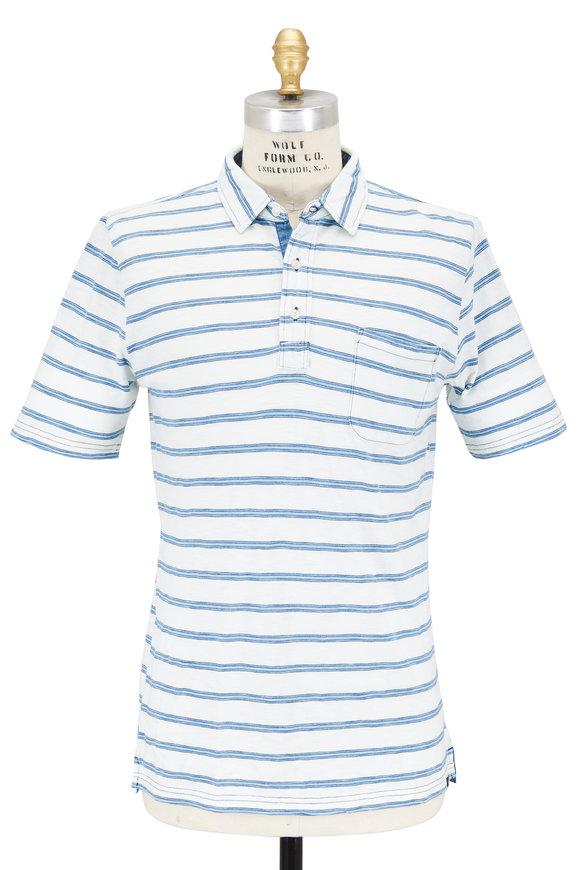 Faherty Brand Blue & White Striped Pocket Polo