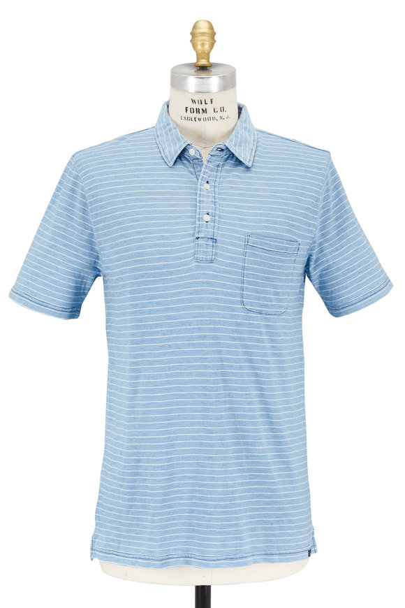 Faherty Brand Light Blue Stripe Patch Pocket Polo
