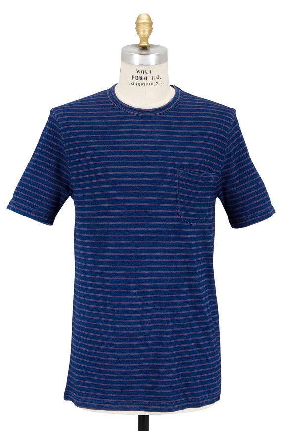Faherty Brand Navy Stripe Patch Pocket T-Shirt