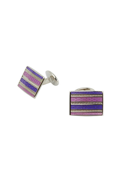 David Donahue - Sterling Silver Pink & Purple Rectangle Cuff Links