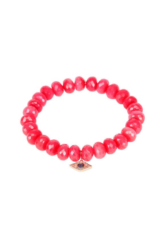 Sydney Evan Hot Pink Chalcedony Evil Eye Charm Bracelet