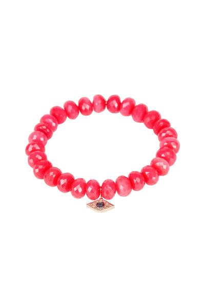 Sydney Evan - Hot Pink Chalcedony Evil Eye Charm Bracelet
