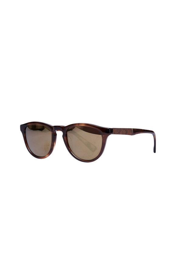 Shwood Francis Bourbon Gold Mirror Polarized Sunglasses