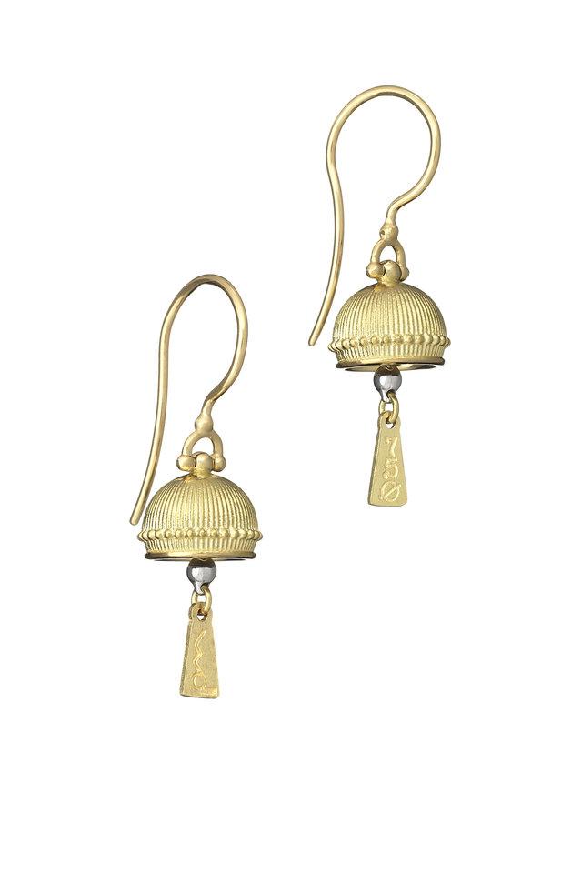 Mediation Bells Yellow Gold Mini Dangle Earrings