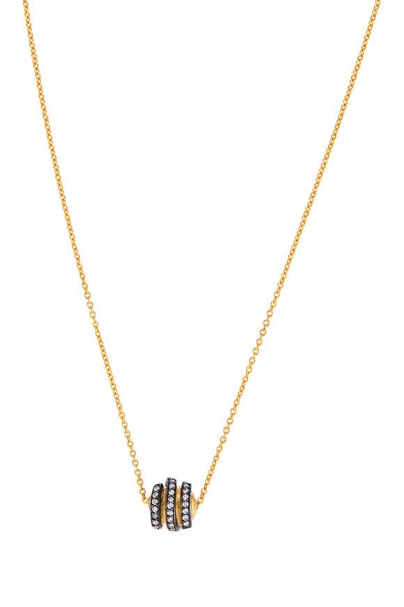 Yossi Harari Yellow Gold Diamond Helen Spiral Bead Necklace