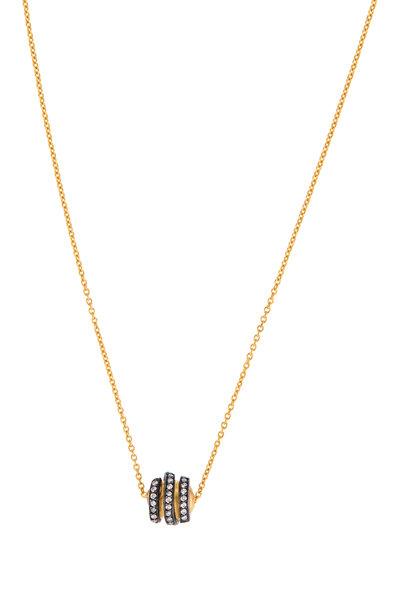 Yossi Harari - Yellow Gold Diamond Helen Spiral Bead Necklace