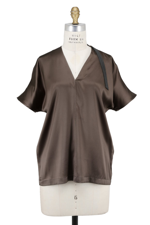 Brunello Cucinelli Military Green Silk Charmeuse Cap Sleeve Top
