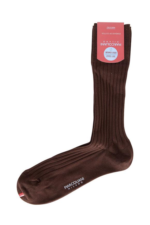 Marcoliani Dark Brown Ribbed Socks