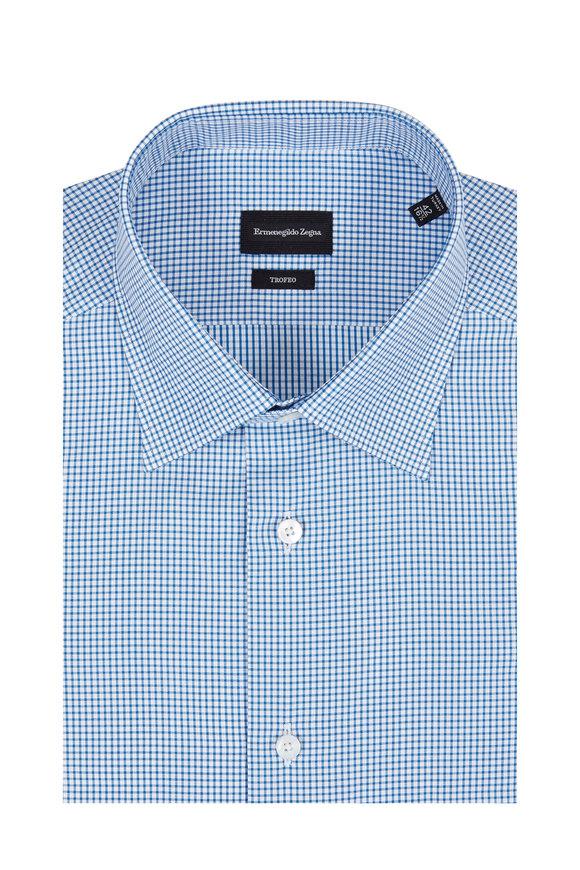 Ermenegildo Zegna Trofeo Blue Check Dress Shirt