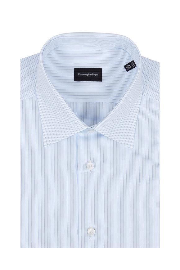 Ermenegildo Zegna Light Blue Pinstriped Dress Shirt