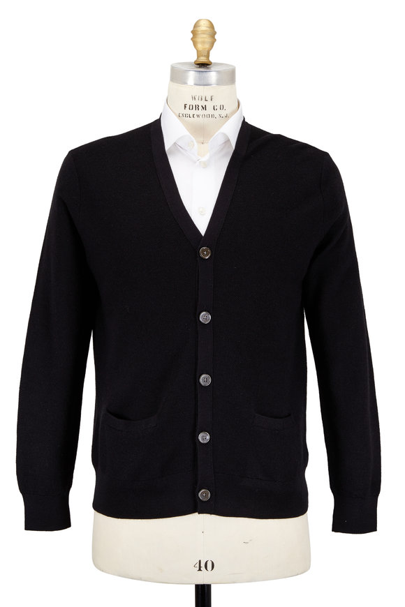 Polo Ralph Lauren Black Wool & Silk & Cashmere Pocket Cardigan