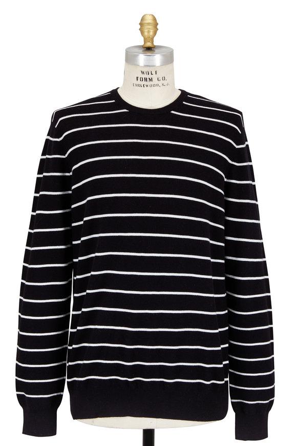 Polo Ralph Lauren Black & White Striped Cotton & Cashmere Sweater