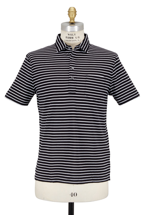 Polo Ralph Lauren Black & White Striped Pocket Polo