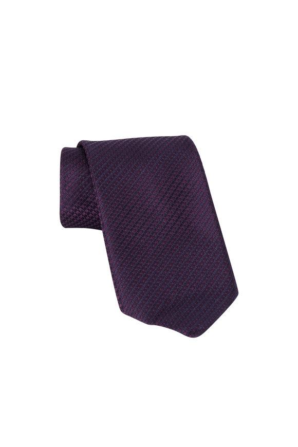 Ermenegildo Zegna Purple Geometric Silk Necktie