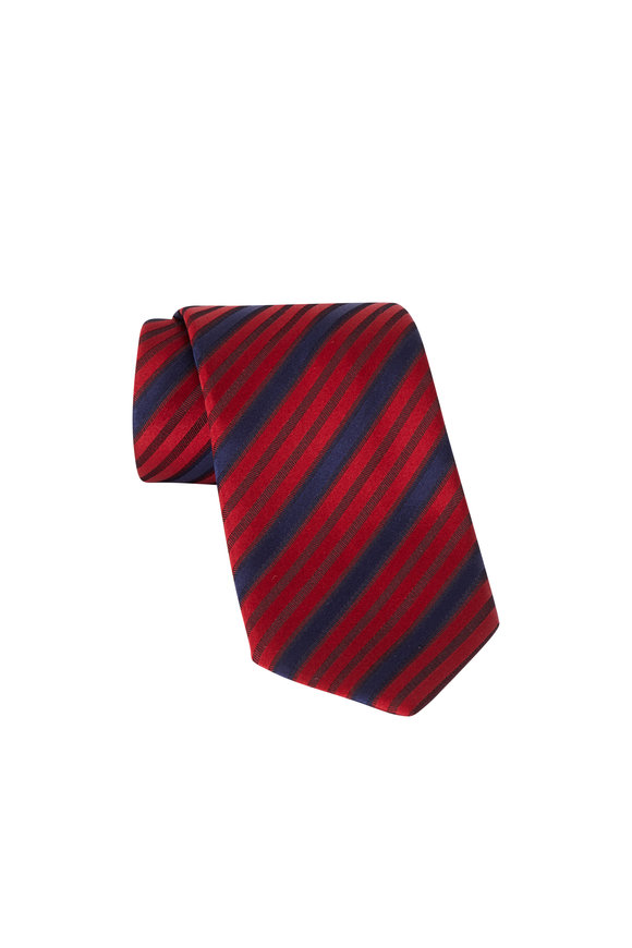 Ermenegildo Zegna Red Striped Silk Necktie