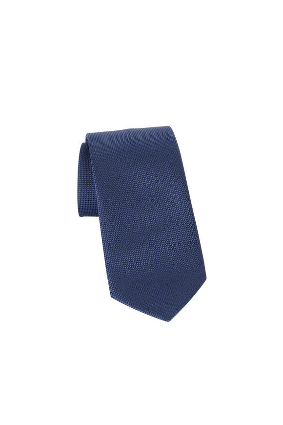 Ermenegildo Zegna Navy Blue Neat Print Silk Necktie