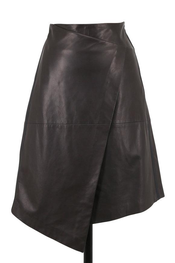 Brunello Cucinelli Graphite Leather Wrap Skirt