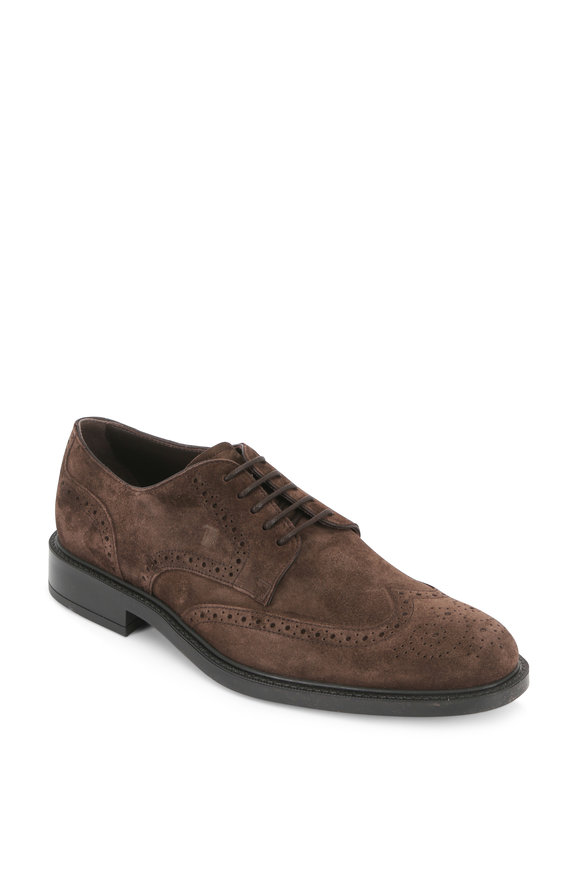 Tod's Gomma Brown Suede Wingtip Derby Shoe