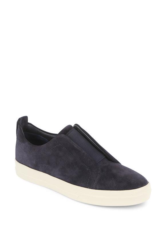 Vince Conway Coastal Blue Suede Slip-On Sneaker
