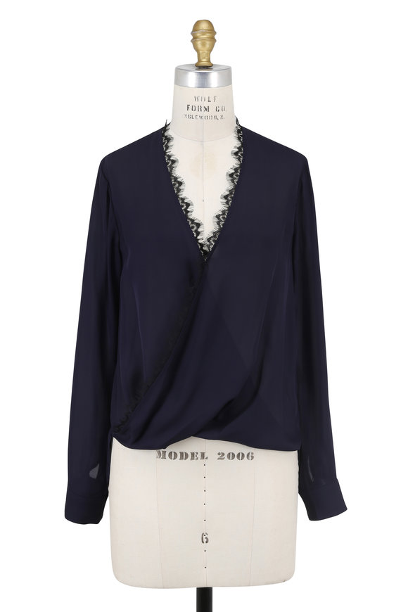 L'Agence Rosario Navy Blue Silk Lace Trim Blouse