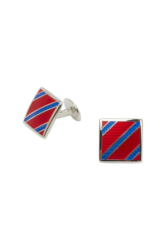 David Donahue Sterling Silver Red & Blue Striped Cuff Links