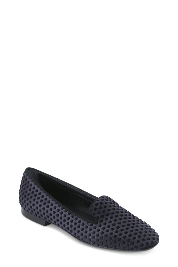 Tod's Black Velvet Pebbled Loafer