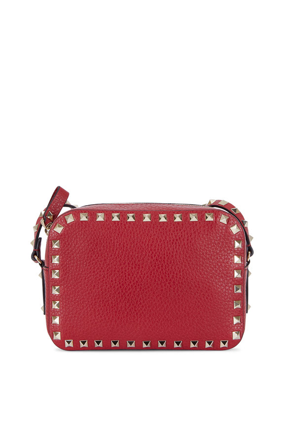 Valentino Rockstud Rubino Red Leather Camera Crossbody
