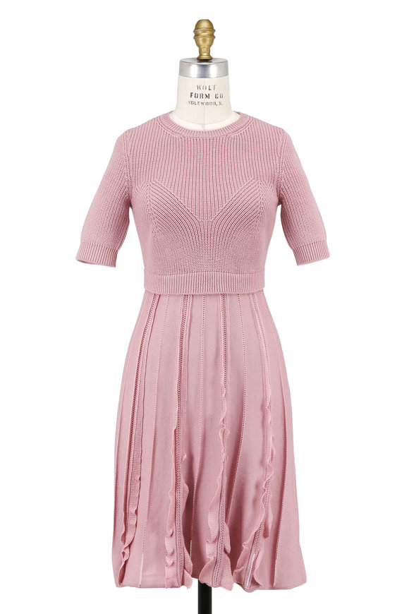 Valentino Wild Rose Wool Knit Short Sleeve Ruffle Dress