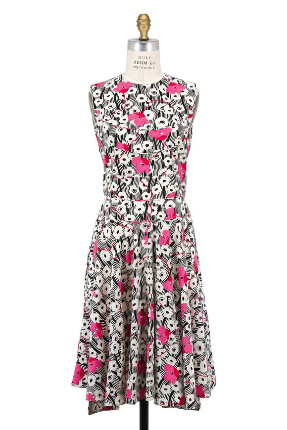 Valentino Ivory & Pink Crêpe De Chine Poppy Sleeveless Dress