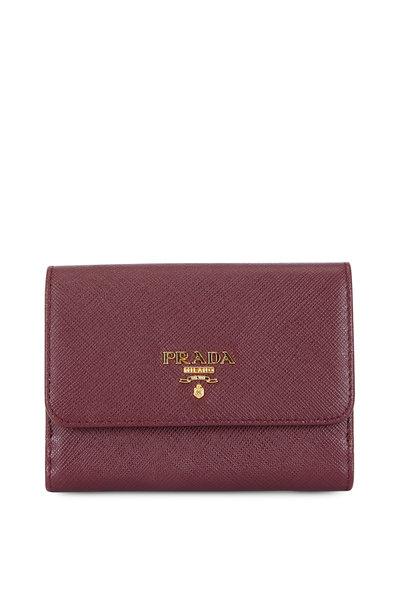 Prada - Burgundy Saffiano Leather Flap Wallet