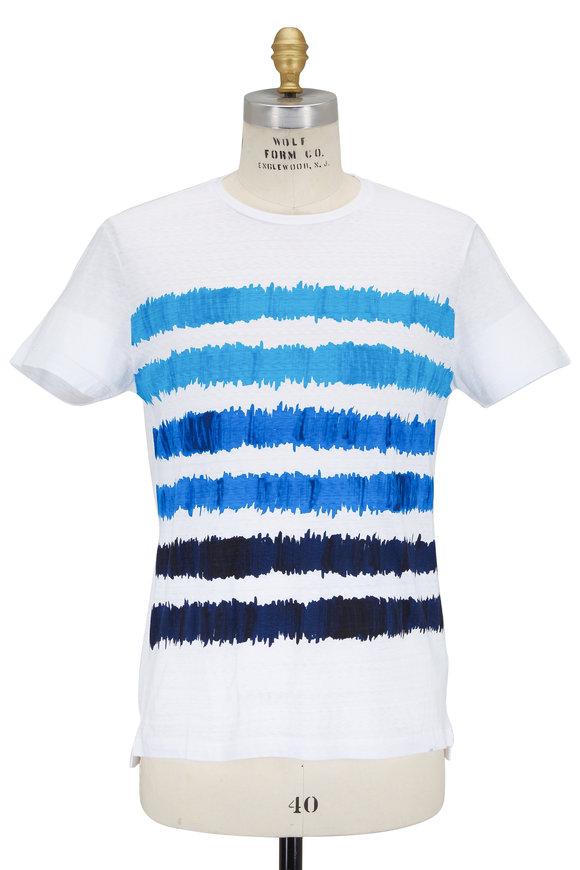 Orlebar Brown Sammy White with Blue Stripes Cotton T-Shirt