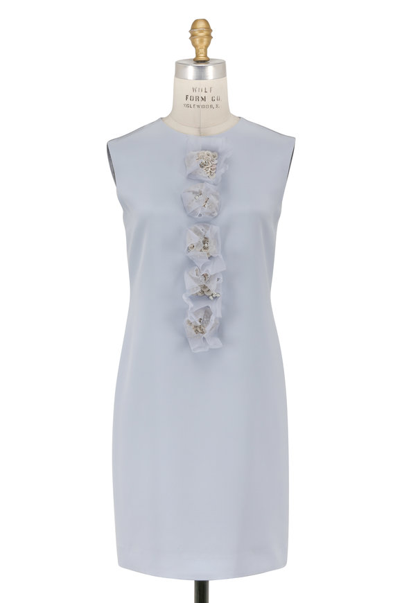 Olivine Gabbro Light Blue Silk Jewel Embellished Sleeveless Dress