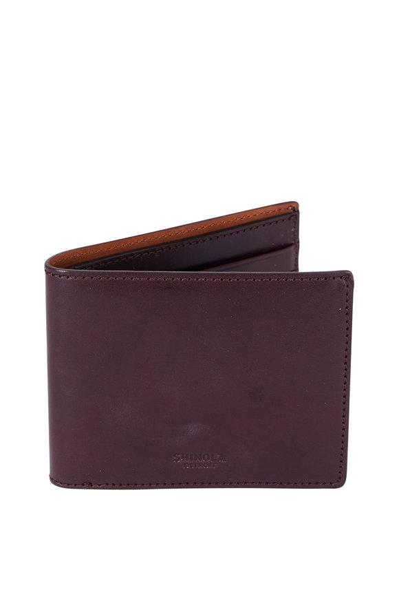 Shinola Dark Brown Leather Slim Wallet