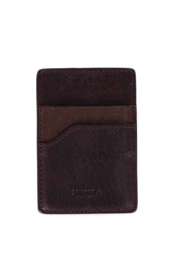 Shinola Dark Brown Money Clip & Card Holder