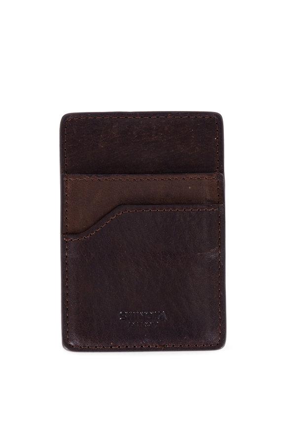 Shinola Dark Brown Money Clip & Card Holder