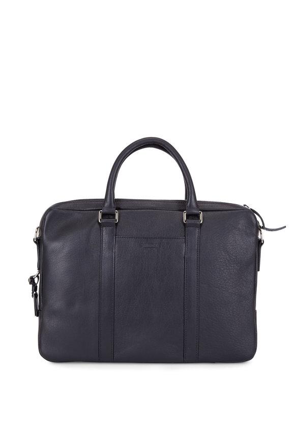 Shinola Black Leather Computer Briefcase
