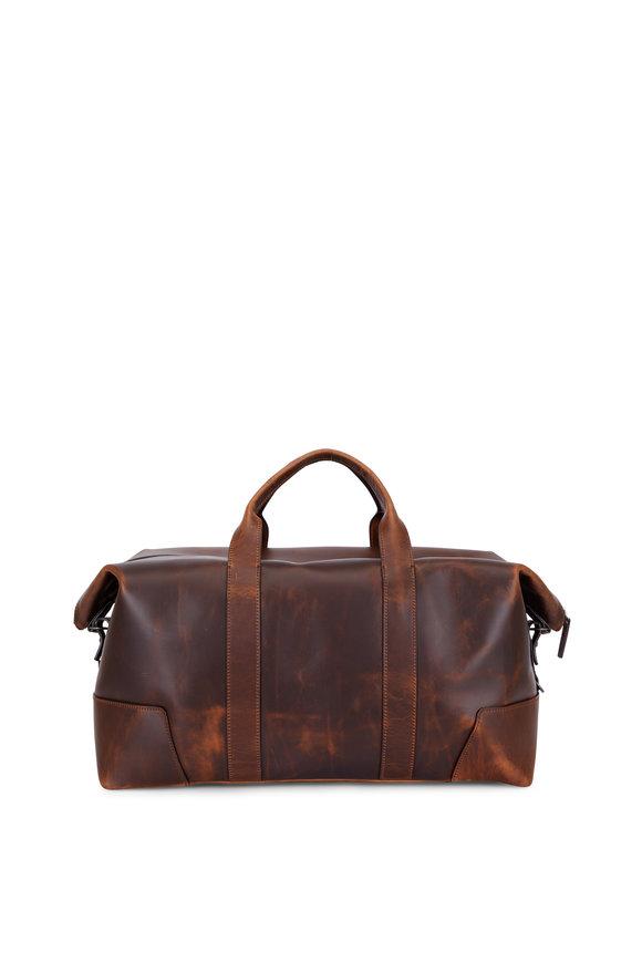 Shinola Medium Brown Navigator Leather Large Carry All Bag