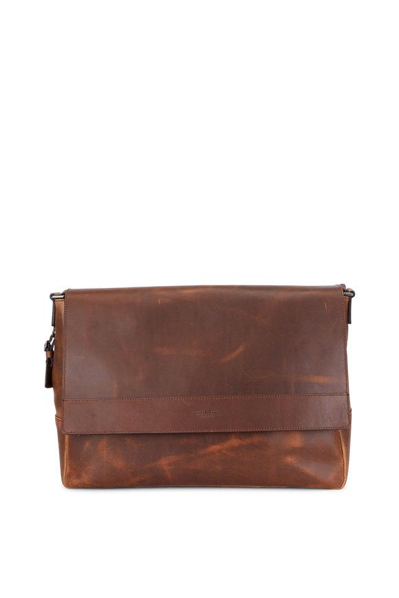 Shinola Medium Brown Navigator Leather Messenger Bag