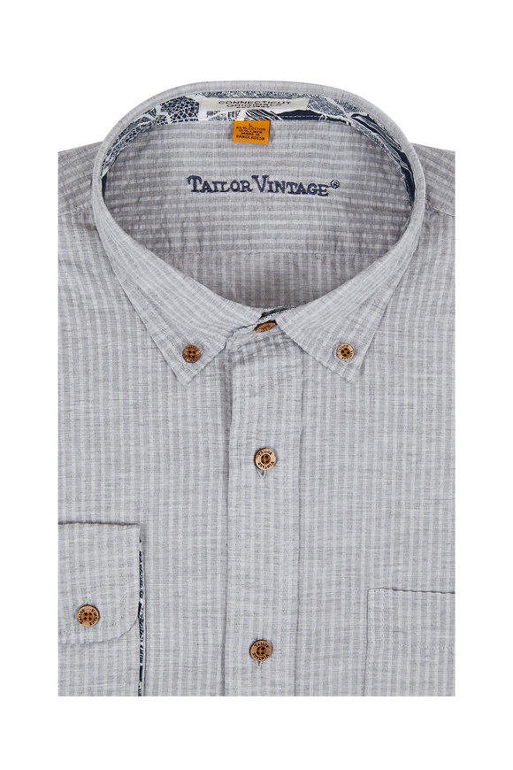 Tailor Vintage Grey Cotton & Linen Seersucker Sport Shirt