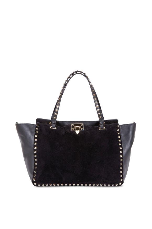 Valentino Rockstud Black Suede & Leather Medium Tote