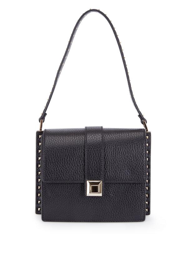 Valentino Rockstud Black Pebbled Leather Small Shoulder Bag