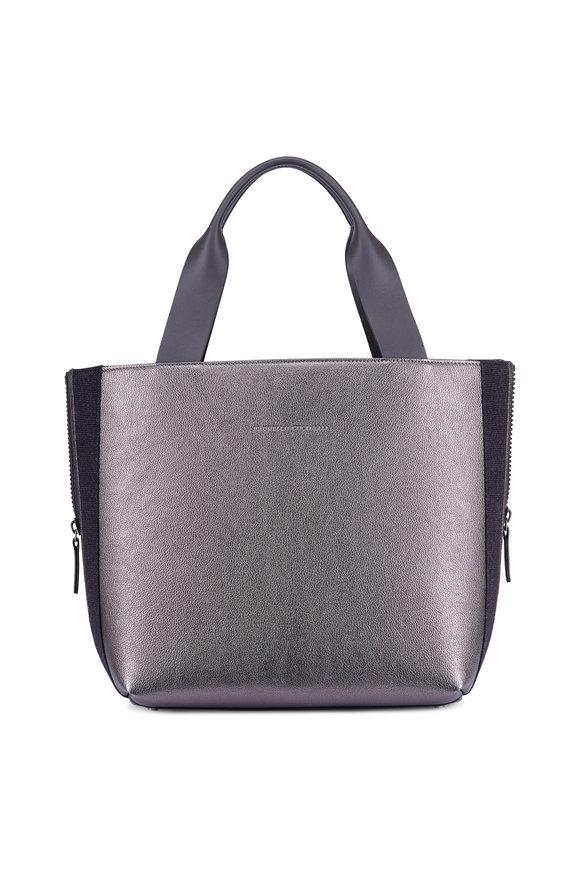Brunello Cucinelli Gunmetal Metallic Leather & Flannel Side Zip Tote