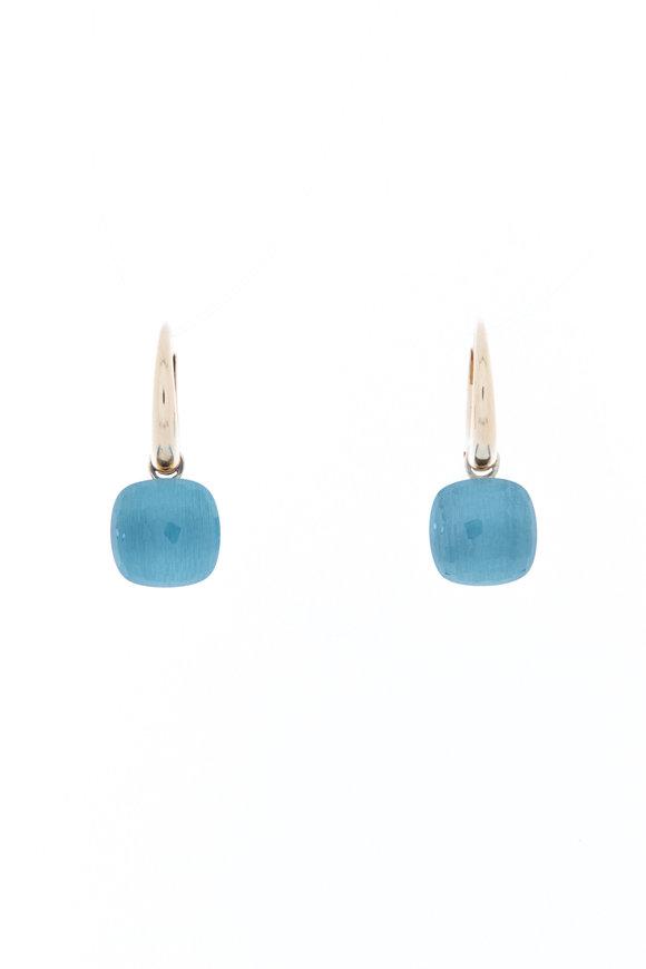Pomellato Nudo 18K Rose Gold Blue Topaz Drop Earrings