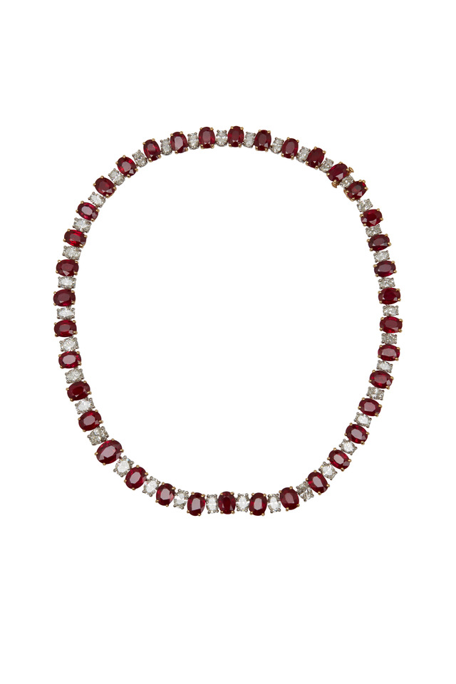 Platinum Ruby & Diamond Necklace